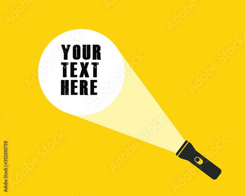 Obraz Cartoon flat style led flashlight torch icon shape. Search pocket lamp symbol logo. Vector illustration image. Isolated on yellow background. - fototapety do salonu