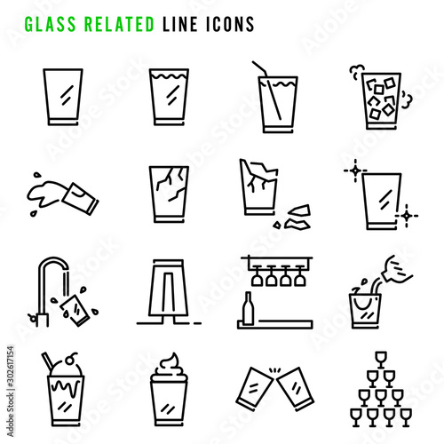 Glass related line icons Tablou Canvas
