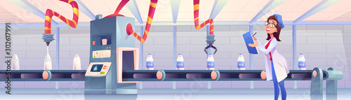 Fototapeta Milk bottles on factory conveyor belt with robotic arms pouring and packing production on transporter line, woman operator controlling smart industrial automation process. Cartoon vector illustration obraz
