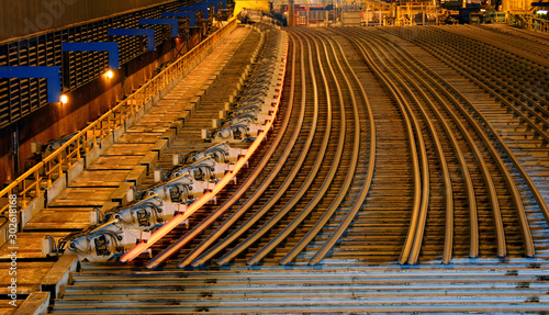 Rolled steel cooling banks in steelworks.