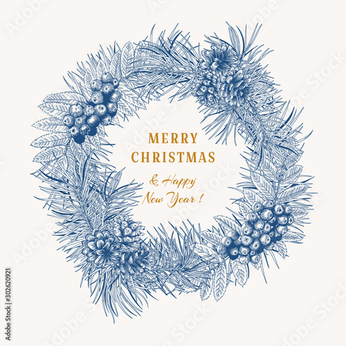Obraz Christmas blue wreath with winter plants on white background. Vintage composition. Botanical vector illustration. - fototapety do salonu