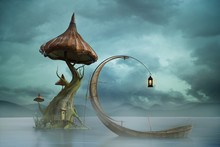 Fantasy Image Of A Magical Mushroom Island And Moon Boat With Lantern, 3d Render.
