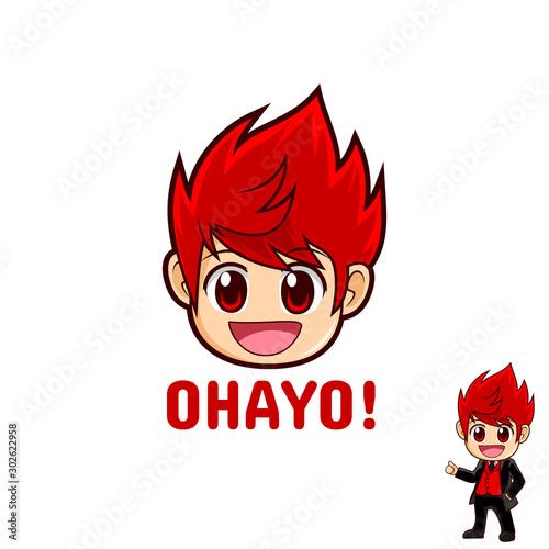 cute Anime chibi mascot logo design Canvas Print