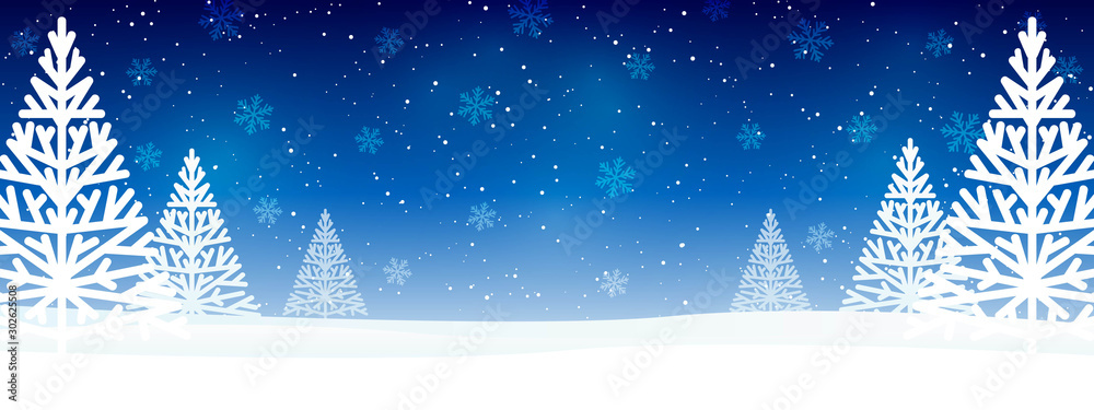 Fototapeta Christmas trees on blue starry background - horizontal panoramic banner for Your design