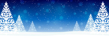 Christmas Trees On Blue Starry Background - Horizontal Panoramic Banner For Your Design