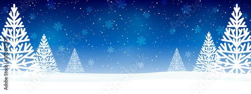 Fotografía  Christmas trees on blue starry background - horizontal panoramic banner for Your