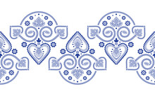 Folklore Floral Nordic Scandinavian Pattern Vector Seamless Border. Ethnic Blue And White Ornament Print With Hearts And Flowers. Finnish, Swedish And Norwegian Style Holiday Decoration Design.