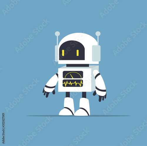 Photo Cute white robot character vector