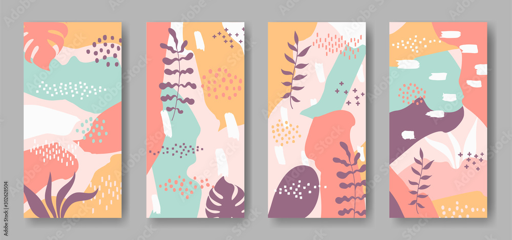 Fototapeta Set of vector banners with abstract ornament