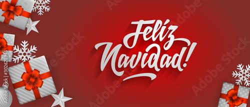 Fotografie, Obraz Feliz Navidad - Merry christmas in spanish language red flat card template desig