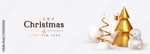 Abstract Christmas background with 3d design elements. Sharp conical golden Christmas trees, metal spiral pine. Snow spheres, Xmas ball, silver glitter confetti, volumetric snowman. Happy New Year