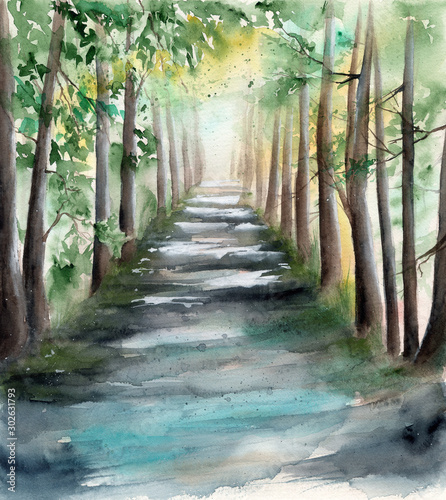 Watercolor picture of a sunlit forest alley with tree shadows and spots of light