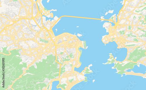 Printable street map of Rio de Janeiro, Brazil Canvas Print