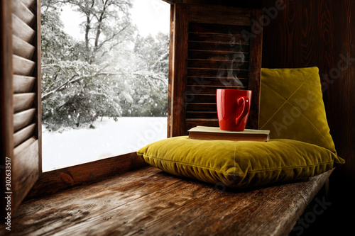 Poster Pays d Europe Winter window sill and free space for your decoration.