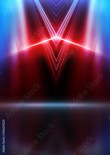 Empty show scene background. Reflection of a dark street on wet asphalt. Rays of red and blue neon light in the dark, neon shapes, smoke. Abstract dark background. - 302634520