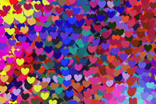 Pretty Multi Colorful Heart Of Love Pattern. Full Frame Mix Many Colors Background Textures Space Abstract