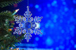 canvas print picture - Christmas and background.Toy in the form of a transparent star on a Christmas tree, background for a card, dark blue bokeh background, Greeting card for a congratulation