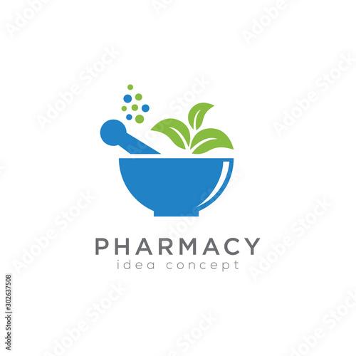 Obraz Pharmacy Concept Logo Design Template, Herbal Medicine - fototapety do salonu