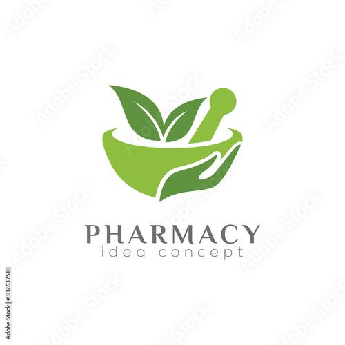 Fotografia  Pharmacy Concept Logo Design Template, Herbal Medicine