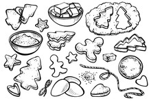 Sketch Set With Forms For Cookies And Christmas Cookies. Vector Illustration Of Baking Gingerbread.