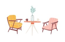 Table And Armchairs Hand Drawn Vector Illustration. Living Room Furnishing, Home Retro Interior Items. Soft Vintage Chairs And Round Table Drawing. Old-fashioned Furniture Isolated On White Background