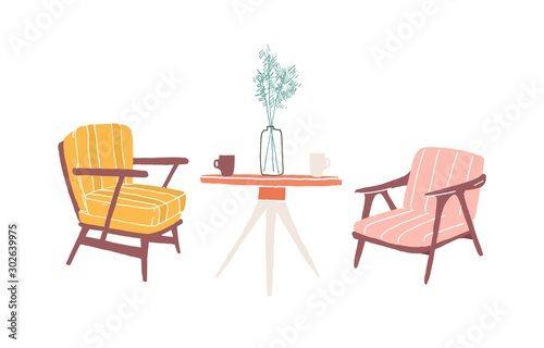 Table and armchairs hand drawn vector illustration Canvas Print