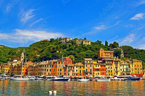Fond de hotte en verre imprimé Europe Méditérranéenne Landscape of Portofino Harbour (Portofino, Italy)