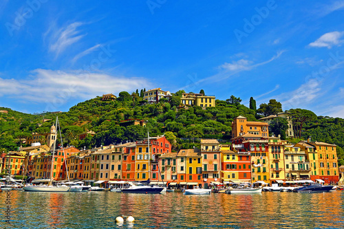 Foto auf Gartenposter Ligurien Landscape of Portofino Harbour (Portofino, Italy)