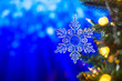 canvas print picture - Christmas and background.Toy in the form of a transparent star on a Christmas tree, background for a card, dark blue bokeh background, Greeting card for a congratulation for design. Inscription
