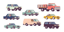 Cars And Drivers Set, Business Transportation, Urban Trip. Male, Female Persons Driving Different Vehicles, City Transport, Automobile Service, Renting Or Work. Vector Flat Style Cartoon Illustration