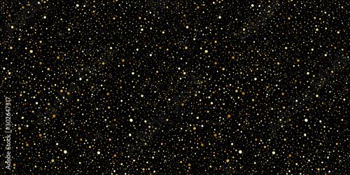 Fond de hotte en verre imprimé Artificiel Gold round splash dots or glittering spangles seamless background. Hand drawn spray texture. Golden blobs, sparks, sparkles or glitter on black background endless template. Luxury splatter pattern.