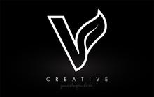 Letter V Monogram Leaf Logo Ic...