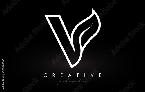 Obraz Letter V Monogram Leaf Logo Icon Design with Black and White Colors Vector. - fototapety do salonu