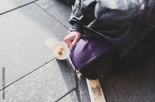 homeless man sleeping on the street Wallpaper Mural
