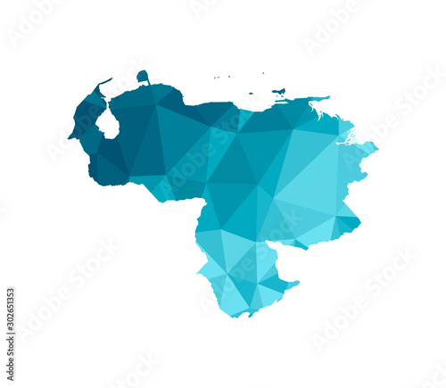 Fotografia, Obraz Vector isolated illustration icon with simplified blue silhouette of Venezuela map