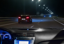 Car Moving On Highway At Night