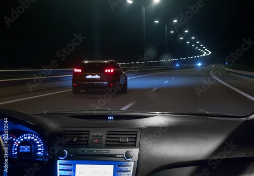 Photo sur Toile Autoroute nuit car moving on highway at night