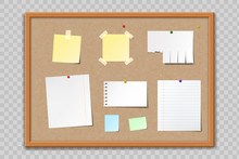 Paper Sheets And Stickers On Cork Bulletin Board
