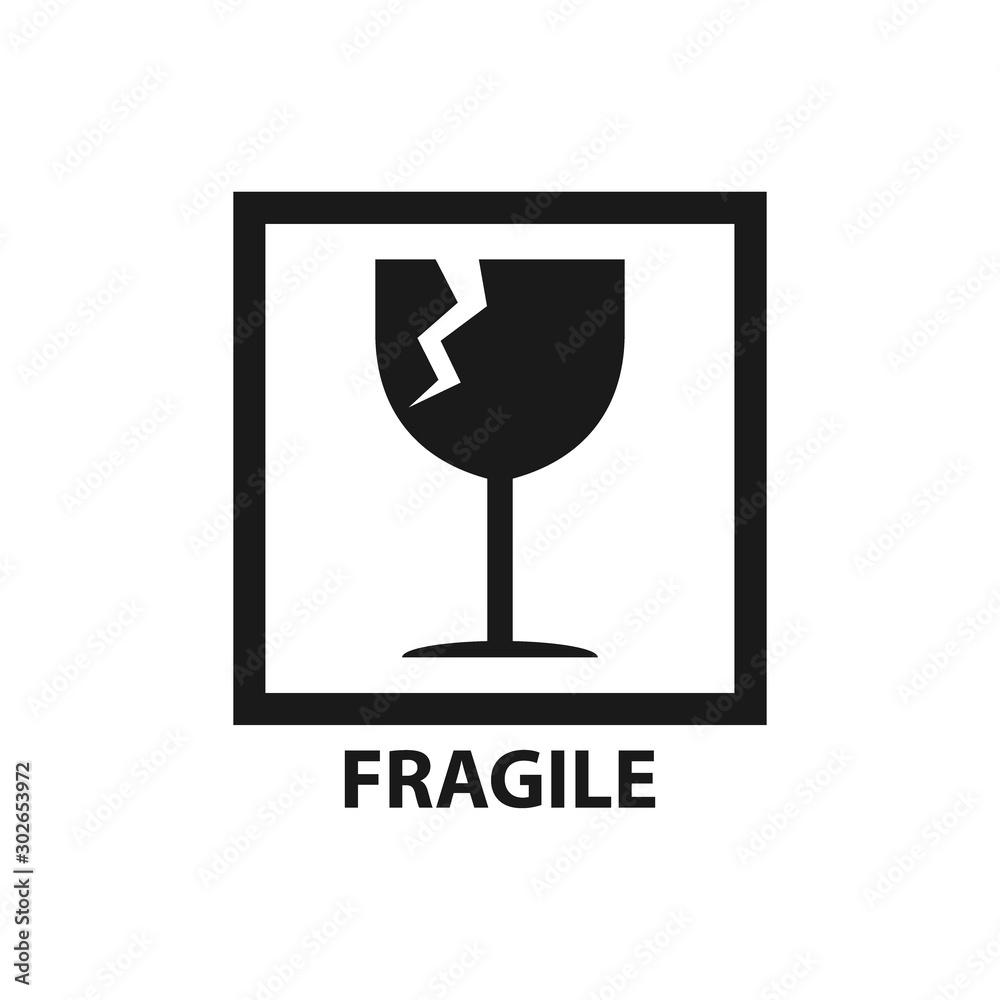 Fototapeta Fragile label symbol, broken glass black vector icon for packaging.