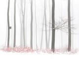Pomarańcze opuszcza w zima śnieżnym lesie, birdhouse na drzewie, mgłowy tło - 302653984