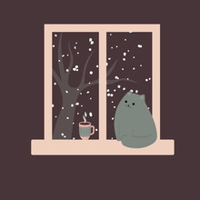 Cute Cat By The Window And Hot Coffee Tea Cacao. Cozy Winter. Illustration In Cartoon Style.