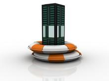 3d Rendering Modern Server Rack With Red Lifebelt