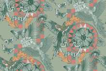 Seamless Pattern Of Parrots An...