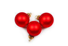 Christmas Decoration, Red Ball Isolated On White Background.