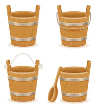 Wooden Bucket With Wood Textur...