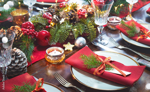 Fototapeta Christmas holidays table setting concept