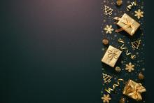 Christmas Golden Decoration On Dark Background