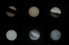 Collage Of Captures From The 2012 Venus Transit; The Planet Venus Passes In Front Of The Sun. Drifting Clouds Disturbed Most Of The Transit.. Some Few Solar Spots Can Be Seen An The Sun's Surface.