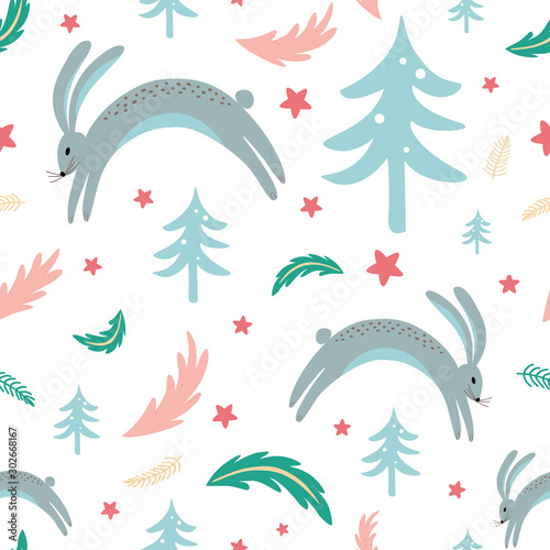 Photographie Seamless pattern rabbit bunny forest elements hand drawn coniferous branch Chris