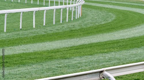 Fotografía Close up of the green grass field in horse racing racetrack in Shatin, Hong Kong